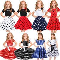 Baby Kids Girls Vintage Dress Polka Dot Princess Swing Rockabilly Party Dresses