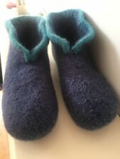 Hand Knitted Felted Scandinavian Style Hygge Boot Slippers Size  5-6