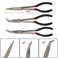 3Pcs Long Nose Pliers Set Straight Bent Tip Garage Hand Tool 11 inch  280mm UK