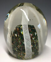 20th C. Latticino Murano Italy Ribbon Rainbow Art Glass Egg Formed Paperweight