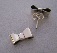 Mexican 925 Silver Taxco Ribbon Bow Cute 3-D Post Hand Crafted Small Earrings