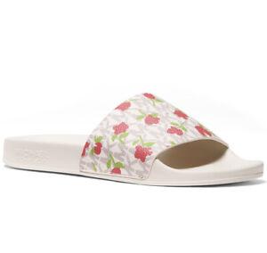 NIB Size 8 Michael Kors Women's Gilmore Pool Slide Sandals Vanilla MK Roses