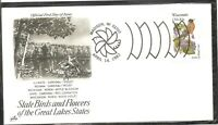 US SC # 2001 State Birds And Flowers ( Wisconsin ) FDC . Artcraft Cachet 1