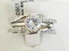 14k White Gold Round Diamond Twist Enhancer Wrap Ring Guard Anniversary Ladies