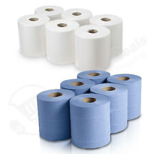 More details for centrefeed blue white rolls 2ply embossed kitchen hand wipes paper towel tissue