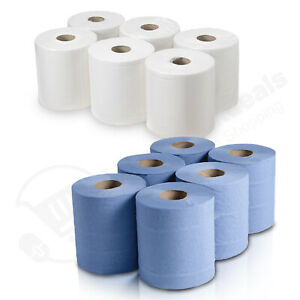 Centrefeed Blue White Rolls 2ply Embossed Kitchen Hand Wipes Paper Towel Tissue