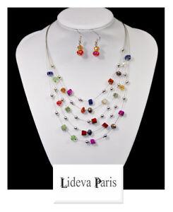 Set Kette Ohrringe Halskette Schmuckset Paris Perlmutt/Glas Perlen Metall