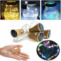 Solar Powered Wine Bottle Cork Shaped LED Copper Wire String Lights Party Decor