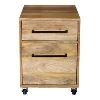 """21"""" T Mobile Pedestal Filing Cabinet Solid Hand Crafted Mango Wood Iron Accents"""