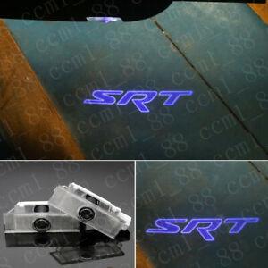 New 2x Blue LED Door Ghost Logo Projector Puddle Lights For Dodge Challenger SRT
