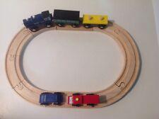 Vintage Wooden Magnetic 3Pc Train, Cars, & Track ~ Brio ~ Thomas ~ Imaginarium