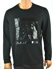Ideology Mens Black T-shirt New L Crew Neck Long Sleeves Graphic Casual