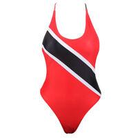 VOARYISA Women's One Piece Caribbean Flag Rasta Monokini Thong Swimsuit Swimwear