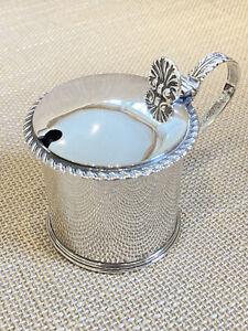 Antique Silver Mustard Pot & Original Blue Glass Pot. Hallmarked CHESTER 1909.