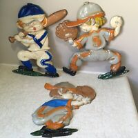 3 Sexton METAL Baseball WALL PLAQUES Sports HOME INTERIORS HOMCO Boys VINTAGE