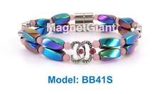 CC Pink - Double high power magnetic multi color hematite beaded bracelet