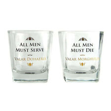OFFICIAL GAME OF THRONES ALL MEN SET OF 2 WHISKY GLASSES TUMBLERS