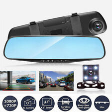 4.3'' HD 1080P Dual Lens Rear View Mirror Car DVR Dash Cam Recorder Camera 170°