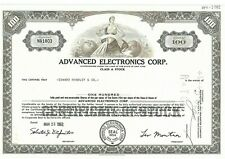 Stock Certificate of Advanced Electronics Corp.
