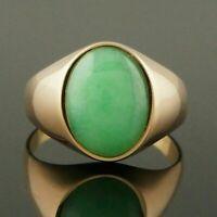 Custom 14K Yellow Gold Over & Apple Green Jade Cabochon, Estate Signet Ring