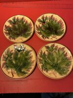 GERMAN MAJOLICA GRAPE LEAVES PLATES Set Of 4