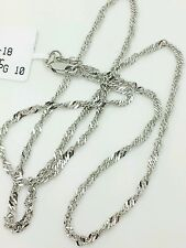 "14k Solid White Gold Diamond Cut Singapore Twist Necklace Chain 18"" 2.1mm"