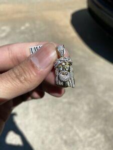 10k Solid Yellow Gold Mini SI Diamond 0.50 CT Jesus Head Pendant Charm