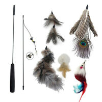 6pcs Kitten Cat Rod Bell Mouse Toy Wand Teaser Play Pet Exercise Dangler Feather