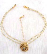 Golden Pearl Diamante Borla Head Chain Matha Patti Tika Tikka Indian Bollywood