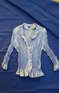 Women XL Accordion Pleat Stretch Blouse 3/4 Sleeve Lilac Blue Gem Buttons