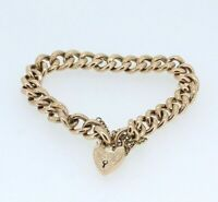 9ct Rose Gold Edwardian Hollow Curb Padlock Bracelet & Safety Chain