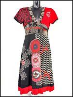 DESIGUAL Short Sleeve V-neck V-back A-line Black & Red Cotton Dress size Large