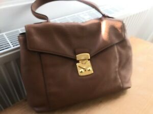 Miu Miu Conker Brown Leather Large Shoulder Strap Handbag .