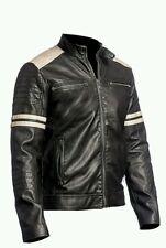 NEW Men's Cowh Leather Jacket Black Slim Fit Biker Vintage Motorcycle Cafe Racer