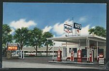 MT Columbus STD CHROME 1950's GIT'S MOBIL GAS STATION On Hwy 10 by Tichnor Gloss