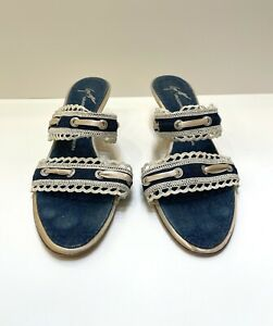 Giuseppe Zanotti Vincini Mules Heels 10.5 US 40.5 EUR Blue Denim Satin Sandals