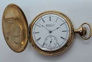 "Antique 1898 ILLINOIS ""F. Halthausen NY"" Private Label Full Hunter Pocket Watch"
