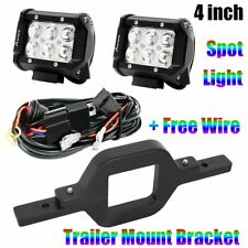 "Trailer Tow Hitch Mount Bracket + 4"" Flood LED Work Light Reverse Offroad Truck"