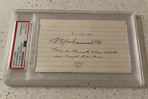"1959 Muhammad Ali Signed Sketch ""Love is the net where hearts.."" PSA Autograph"