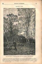 Une coupe de bois à Senlisse Yvelines Île-de-France par Pelouse GRAVURE 1877