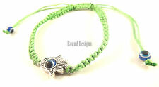 Hamsa Green Silver Bracelet Evil Eye Charm Kabbalah Hand Of Fatima Amulet New