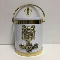 Vintage White Ice Bucket With Crest Design With Lid And Handle Vintage Mancave