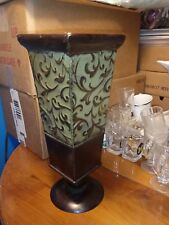 """Garden Ridge Small Embossed Candlestick Metal Candle Holder Brown & Green 12"""""""