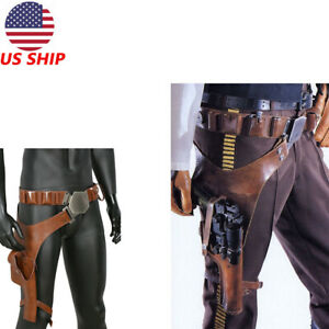 XcoserHan Solo PU Leather Belt Cosplay Prop Leg Pack Gun Holster For Men US Ship