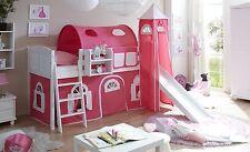 Lit mezzanine avec toboggan et tour EKKI Pin massif teinté blanc tissus Rose-Bla