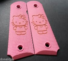 1911 PINK HELLO KITTY laser engraved grips full size  fits Kimber Springfield