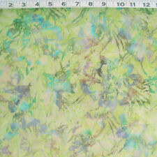 "C1350-07B HOFFMAN Cotton Batik ""Bali Chop"" Flowers & Grass in Greens by Yard"