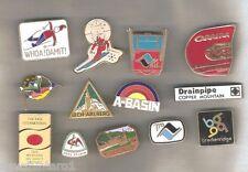 #!. LOT OF 13 METAL SKIING SOUVENIR BADGES