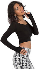 Womens Cropped Long Sleeve Stretch Fit Thumb Hole Scoop Neck Sexy Black Club Top
