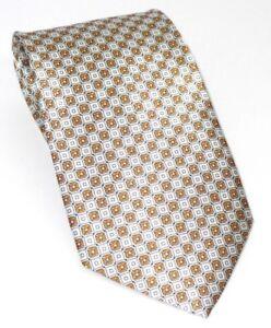 Printed 100% Pure Silk Tie  Small Orange White and Black Geometric Pattern
